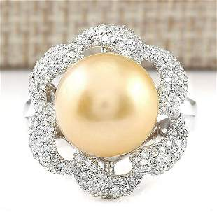1.00 CTW Natural 11.95mm Gold South Sea Pearl Diamond