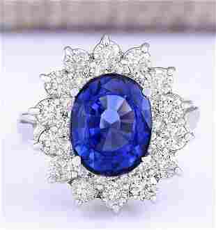 5.55 CTW Natural Ceylon Sapphire And Diamond Ring In