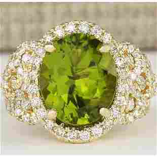 8.02 CTW Natural Peridot And Diamond Ring In 14k Yellow