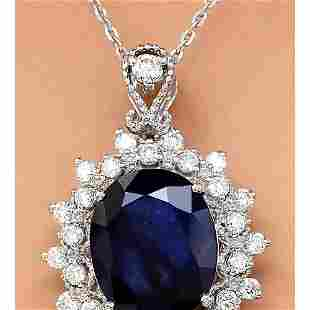 5.25 CTW Natural Sapphire 14K Solid White Gold Diamond