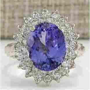 6.18 CTW Natural Blue Tanzanite And Diamond Ring 14K