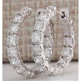 3.44CTW Natural Diamond Hoop Earrings 14K Solid White