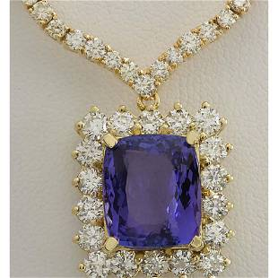 22.92CTW Natural Tanzanite And Diamond Necklace In 14K