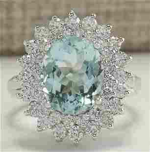 7.03 CTW Natural Aquamarine And Diamond Ring In 14K