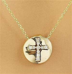 0.18 CTW Diamond 14K Yellow Gold Cross Medallion