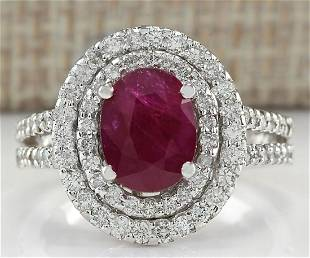 3.44 CTW Natural Ruby And Diamond Ring 18K Solid White