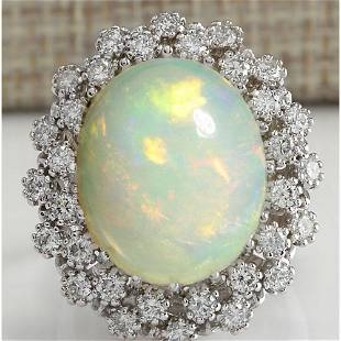 11.98 CTW Natural Opal And Diamond Ring In 18K Solid