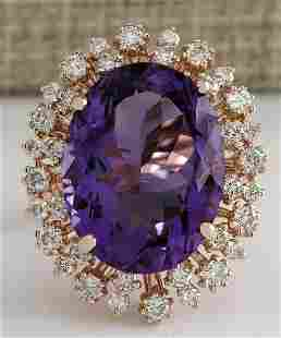 13.19 CTW Natural Amethyst And Diamond Ring In 18K