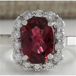 4.73 CTW Natural Pink Tourmaline And Diamond Ring 14K