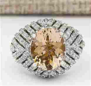 5.38 CTW Natural Morganite And Diamond Ring In 14k