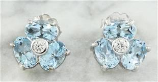 2.61 CTW Aquamarine 14K White Gold Diamond Earrings