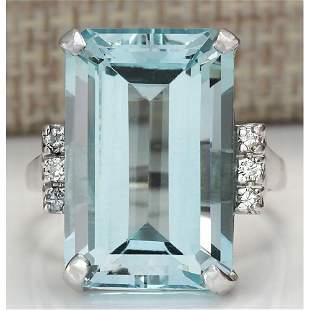 16.42 CTW Natural Blue Aquamarine Diamond Ring 18K