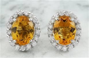 3.90 CTW Citrine 14K White Gold Diamond Earrings