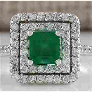 1.70 CTW Natural Colombian Emerald And Diamond Ring In