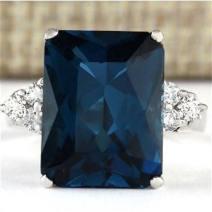 7.30 CTW Natural London Blue Topaz And Diamond Ring