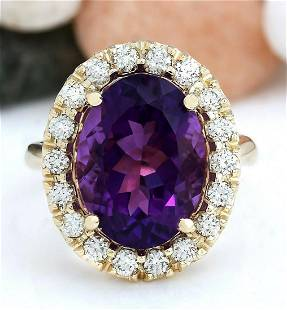 8.40 CTW Natural Amethyst 14K Solid Yellow Gold Diamond
