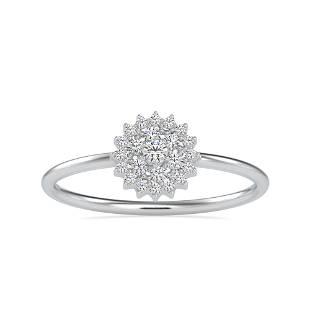 0.15CT Natural Diamond 14K White Gold Ring