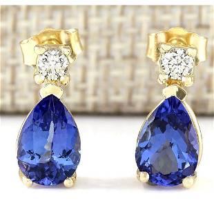 3.40 CTW Natural Tanzanite And Diamond Earrings 18K