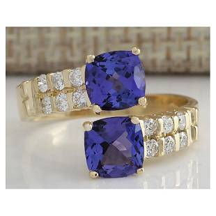 2.82 CTW Natural Blue Tanzanite And Diamond Ring In 18K