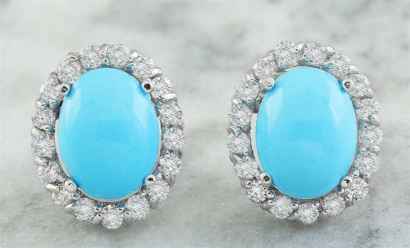 4.67 CTW Turquoise 18K White Gold Diamond Errings