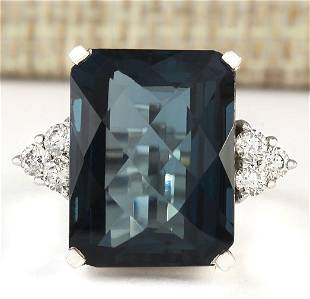 14.60 CTW Natural London Blue Topaz And Diamond Ring