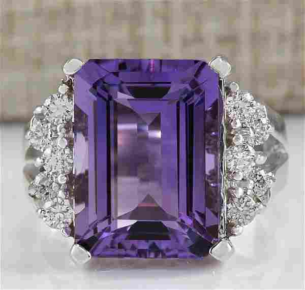 7.53 CTW Natural Amethyst And Diamond Ring In 18K White