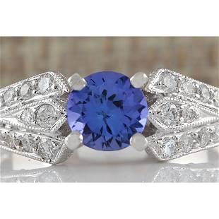 1.15 CTW Natural Tanzanite And Diamond Ring 14K Solid