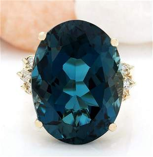 12.25 CTW Natural Topaz 14K Solid Yellow Gold Diamond