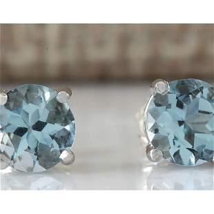 1.18 CTW Natural Aquamarine Earrings 14K Solid White