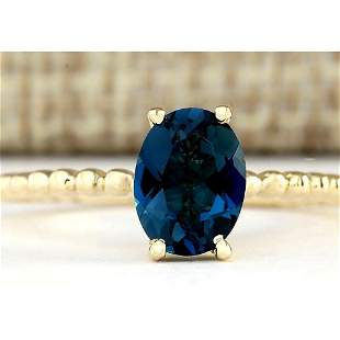1.39 CTW Natural London Blue Topaz Ring In 14k Yellow