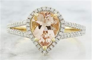 2.32 CTW Morganite 18K Yellow Gold Diamond Ring