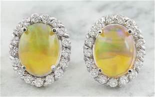 3.70 CTW Opal 18K White Gold Diamond Earrings