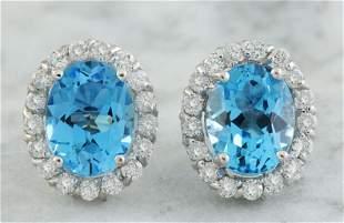 4.86 CTW Topaz 18K White Gold Diamond Earrings
