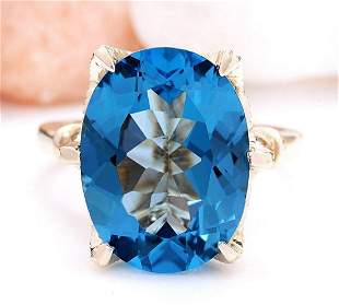 10.62 CTW Natural Topaz 14K Solid Yellow Gold Diamond