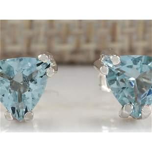 1.70 CTW Natural Aquamarine Earrings 14K Solid White