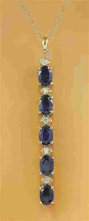 4.50 CTW Sapphire 14K Yellow Gold Diamond Necklace