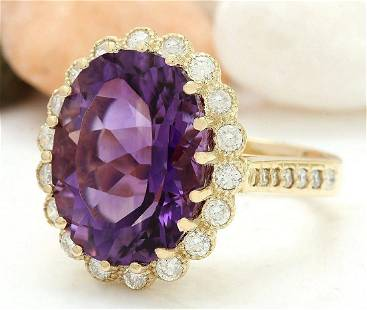 13.19 CTW Natural Amethyst 14K Solid Yellow Gold
