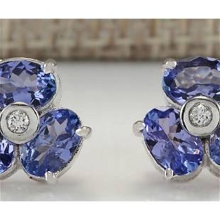 3.08 CTW Natural Tanzanite And Diamond Earrings 14K