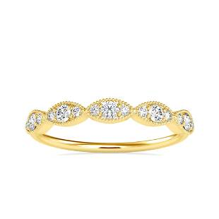 0.28CT Natural Diamond 14K Yellow Gold Ring