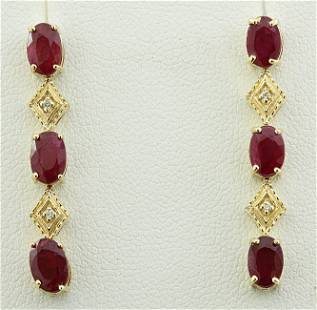2.65 CTW Ruby 14K Yellow Gold Diamond Earrings