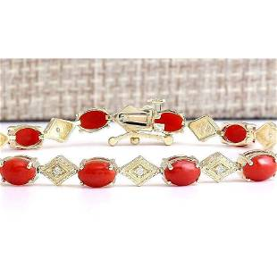 5.88 CTW Natural Coral And Diamond Bracelet In 14k