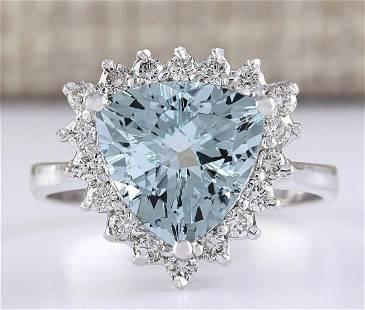 3.25 CTW Natural Aquamarine And Diamond Ring In 18K