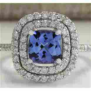 2.20 CTW Natural Blue Tanzanite And Diamond Ring In 18K
