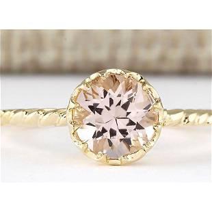 1.20 CTW Natural Morganite Ring In 14k Yellow Gold