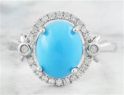 2.55 CTW Turquoise 18K White Gold Diamond Ring