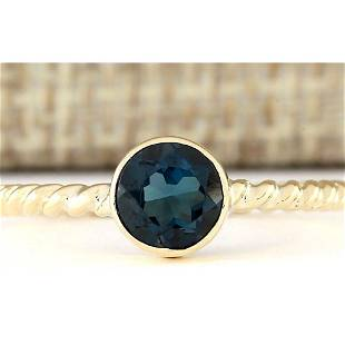 1.00 CTW Natural London Blue Topaz Ring In 18K Yellow