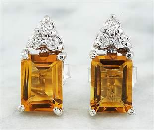 2.65 CTW Citrine 14k White Gold Diamond Earrings