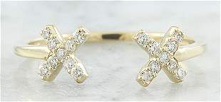 0.10 CTW Diamond 18K Yellow Gold Double X Open Front