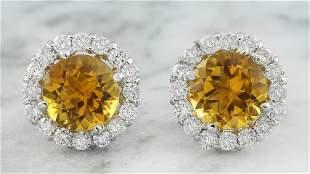 3.65 CTW Citrine 14K White Gold Diamond Earrings