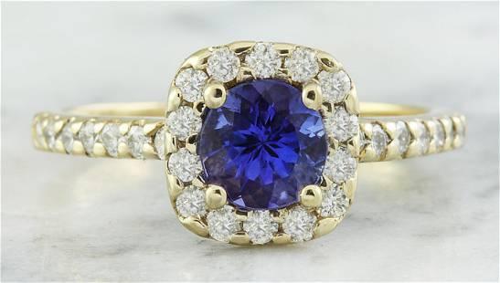 1.55 CTW Tanzanite 18K Yellow Gold Diamond Ring